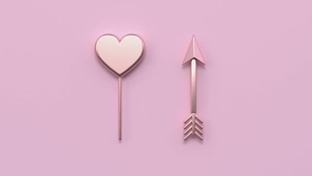 pink flat lay scene metallic gold shape minimal abstract motion 3d rendering heart shape arrow holiday love valentine concept