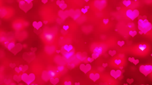 pink flying hearts abstract valentines day background - 4k - cuore video stock e b–roll