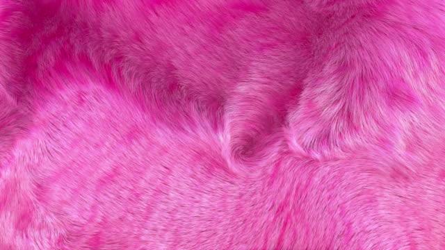 vídeos de stock e filmes b-roll de pink fur background 3d generated 4k - fofo texturizado