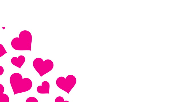 Pink Heart Valentine's Day  pattern pop up from bottom left corner animation 4K on white background