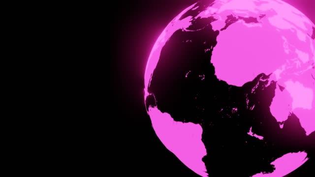 Roze holografische bol op zwarte tekstruimte. Loopable achtergrond. video