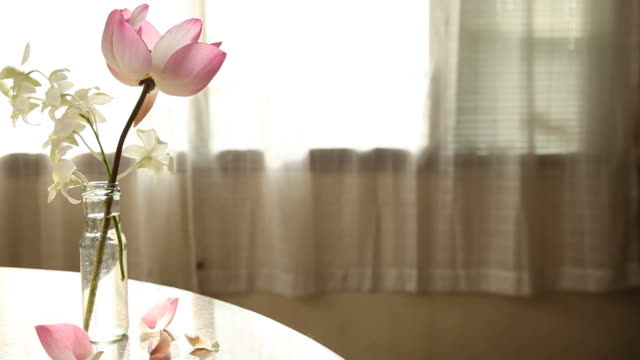 Pink lotus and White orchid in Glass bottle on marble table