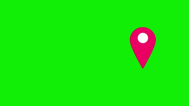 Pink map pins pointer on green background.