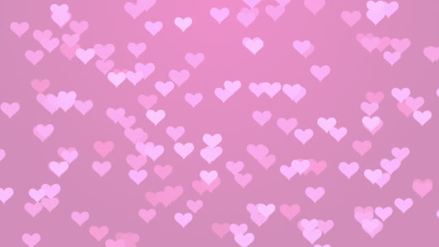 Pink Particle Flying Hearts Valentine's Day Abstract Background 4K stock video