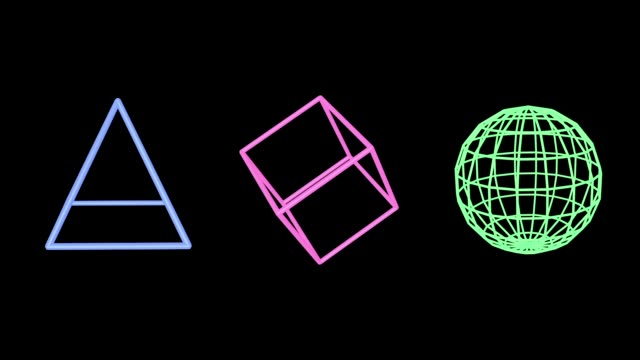 pink pyramid, blue cube and green sphere edges - tridimensionale video stock e b–roll