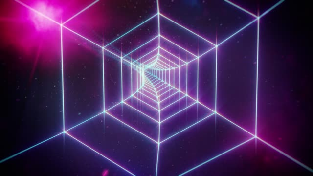 pink retro hexagon grid tunnel and distant planets in space - в сеточку стоковые видео и кадры b-roll