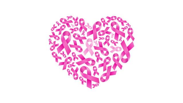 stockvideo's en b-roll-footage met roze lint vulling in hart vorm. borstkanker bewustzijn. - breast cancer