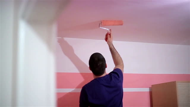 pink room paint room in pink color house painter stock videos & royalty-free footage