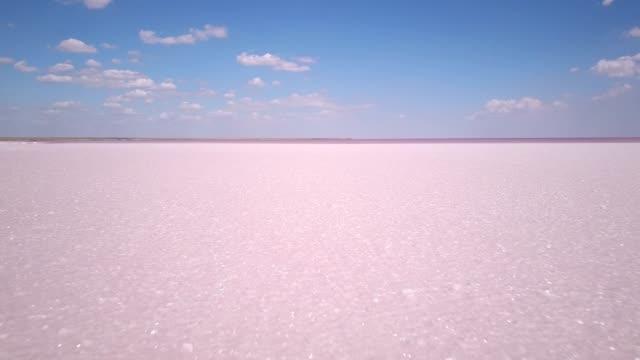 vidéos et rushes de sel rose et l'eau des séquences de drone aérien - lac salé