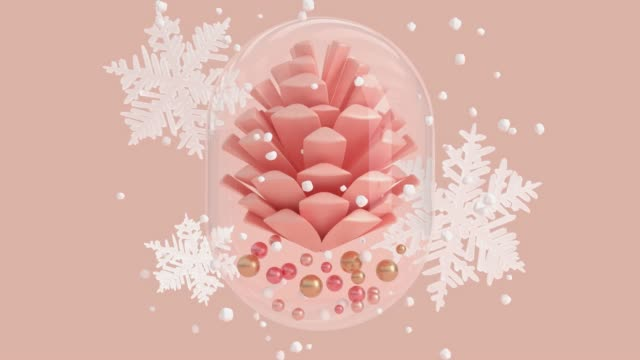 pink scene abstract winter concept snowing glass jar pine cone 3d rendering