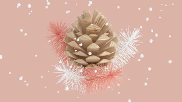 pink scene abstract winter concept snowing wood pine cone 3d rendering