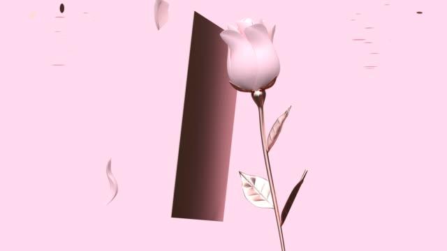rosa scen blankt papper kort ros blomma synda för att stoppa alla hjärtans konceptet 3d-rendering - white roses bildbanksvideor och videomaterial från bakom kulisserna