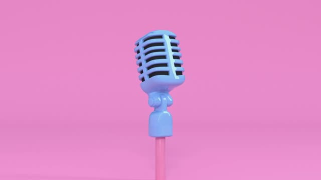 pink scene cartoon style microphone and music note levitation 3d rendering music entertainment concept