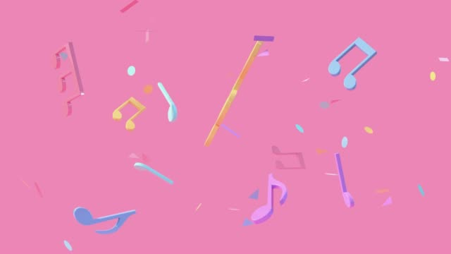 pink scene colorful music notes levitation 3d rendering
