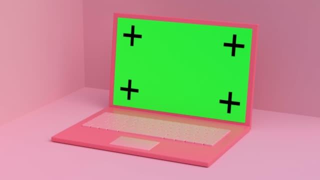 pink scene computer/levitation green screen 3d rendering