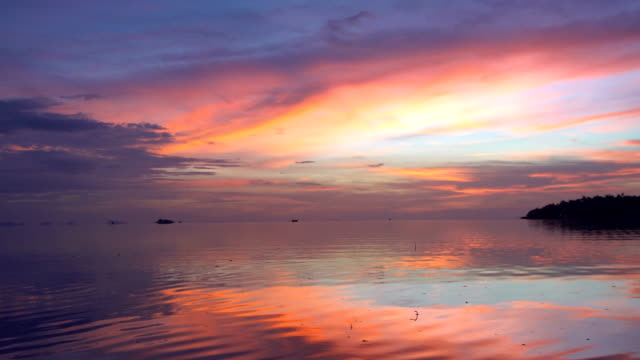 Pink Sky at Dusk with Calm Sea View video