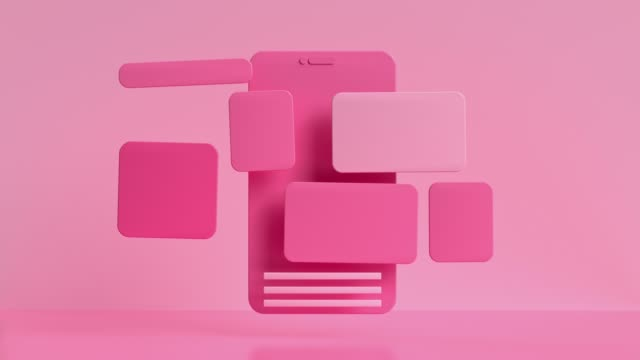 pink smartphone screen user interface levitation 3d render motion video