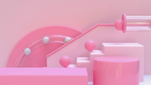 pink staircase ball drop abstract geometric motion loop 3d rendering video