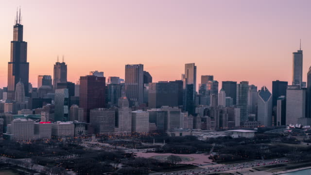 Pink Sunset Over Downtown Chicago - USA