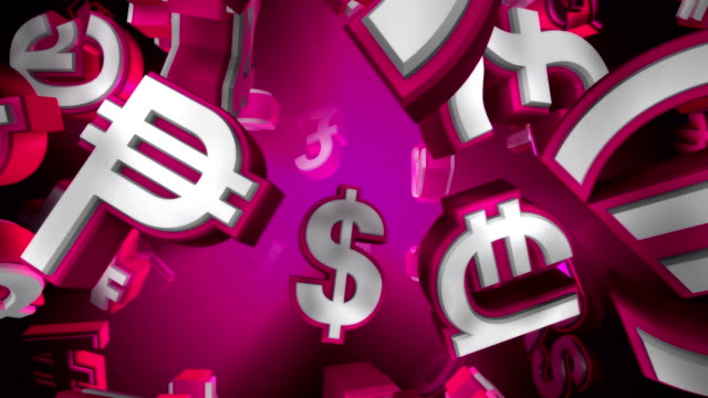 Pink Version, Loopable World Currency Symbols Flying By video