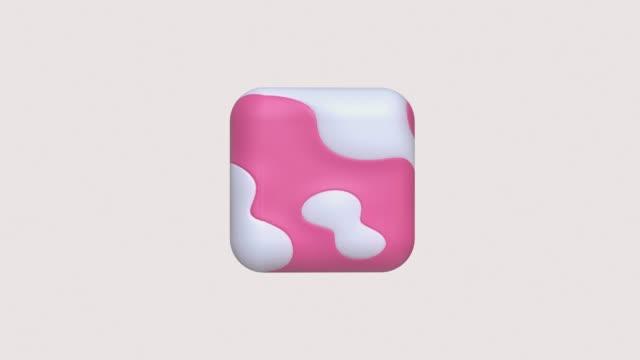 rosa bianco texture forma geometrica 3d rendering movimento - elemento del design video stock e b–roll