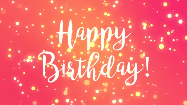 Pink yellow Happy Birthday greeting card Fun pink Happy Birthday greeting card with falling yellow light particles. birthday background stock videos & royalty-free footage