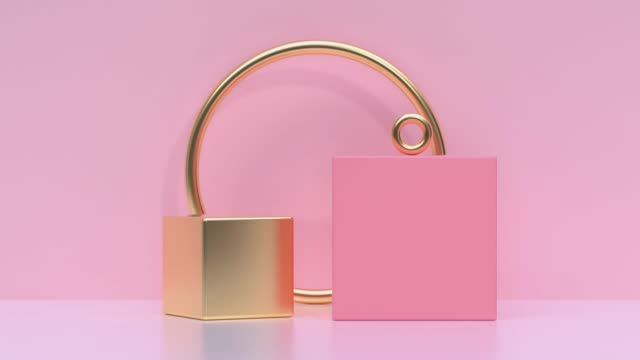 pink/soft pink gold metallic geometric shape minimal scene floor wall abstract 3d rendering motion