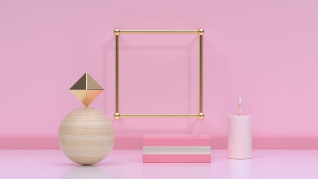 pink/soft pink gold metallic geometric shape minimal scene floor wall abstract 3d rendering motion - tridimensionale video stock e b–roll