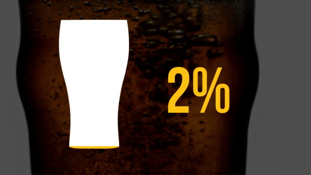 Pint glass icon and increasing percent in yellow with beer in glass Animation of pint glass icon and increasing percentage from zero to one hundred filling with yellow, while a close up of beer in a glass moves in the background thirsty stock videos & royalty-free footage