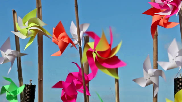 Pinwheels on the beach Turbine is made of multi-colored paper, the sea breeze gets fouled. 1920x1080 1080p High-definition. stick plant part stock videos & royalty-free footage