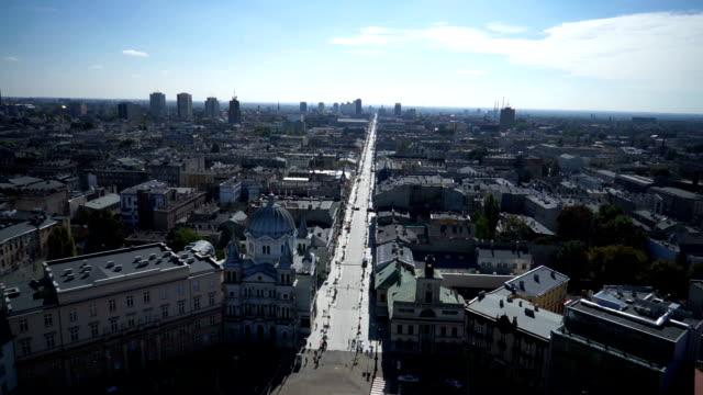 Piotrkowska Street aerial view. video