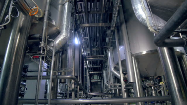 Pipe and structure in industrial factory. 4K.