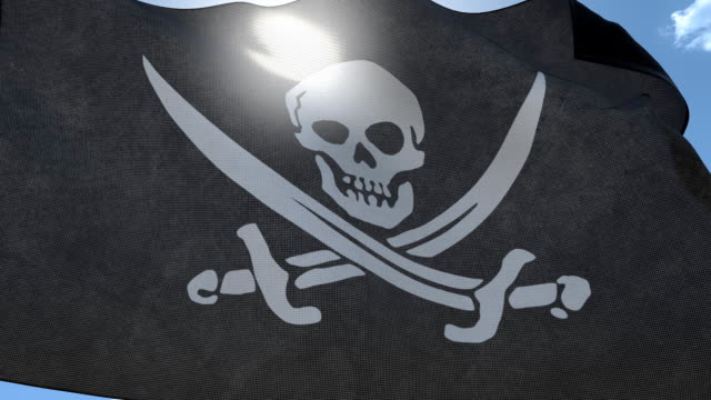 stockvideo's en b-roll-footage met pirate flag waving on the wind. seamless loop - dierlijk bot