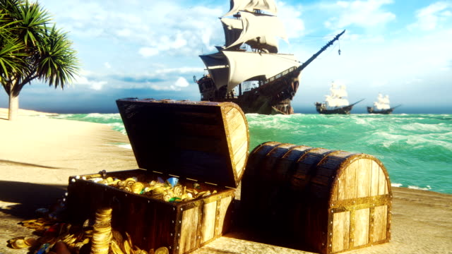 Pirate frigates docked near a tropical island. Pirate island and treasure chests. Sand, sea, sky, clouds, palm trees and clear day. Beautiful looped animation.