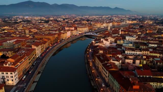 pisa, ita   aerial cityscape   4k - pisa video stock e b–roll