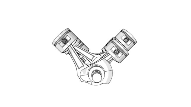 V12 piston and crank animation wireframe video video