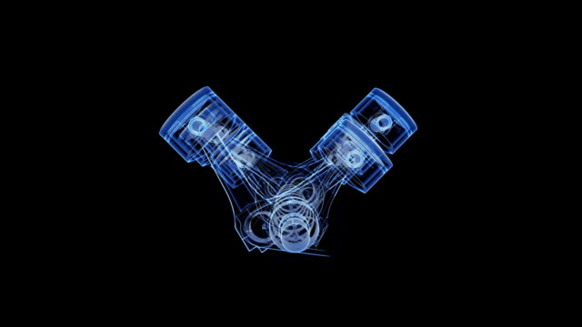 V12 piston and crank xray animation video