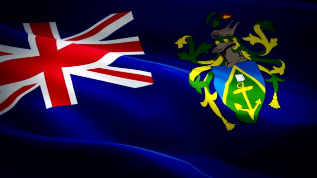 pitcairn islands waving flag. national 3d flag waving. sign of pitcairn islands seamless loop animation. pitcairn flag hd resolution background. pitcairn islands flag closeup 1080p full hd video for presentation - kiss filmów i materiałów b-roll