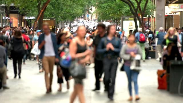 Pitt Street Sydney crowds video