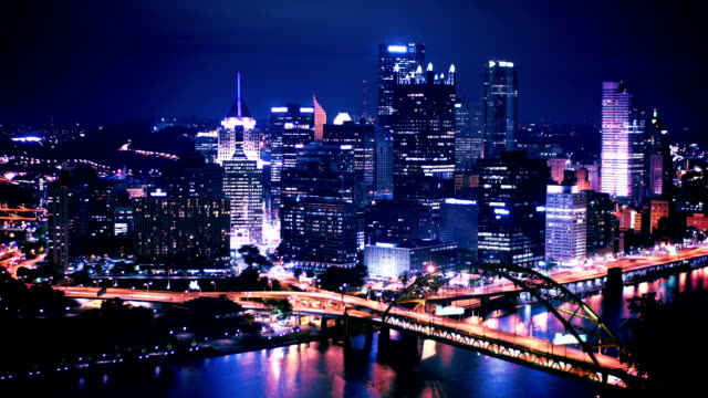 Pittsburgh Skyline Time Lapse Night video
