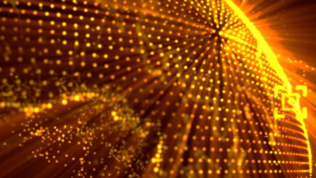 Pixel 3D doré brillant globe de la terre en rotation avec des particules de vague. Planète terre tournant concept technologie future animation avec vide vide pour votre texte et votre logo. - Vidéo