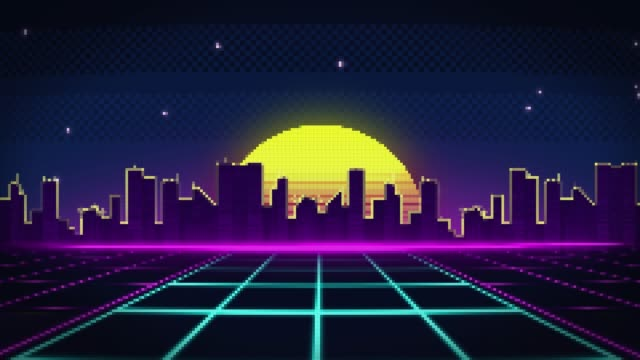 pixel-art-stil straße in die stadt bei sonnenuntergang - comic kunstwerk stock-videos und b-roll-filmmaterial