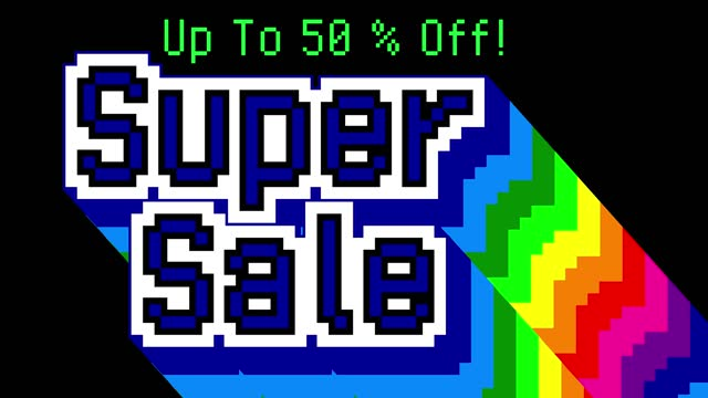 Pixel Art words on old computer screen. Super Sale. Up To 50% Off!
