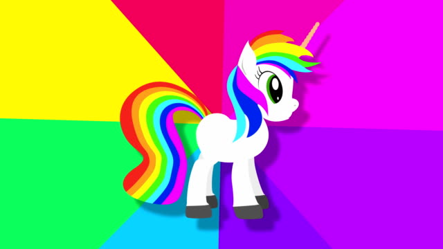 Pixel fantasy unicorn with rainbow footage. Pony animation for minimal style arcade game. Fairytale creature with multicolor moving waves. Flying pegasus and stars on pink background