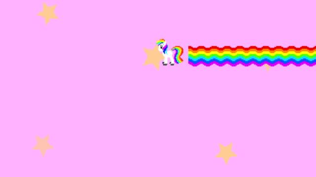 vídeos y material grabado en eventos de stock de píxel unicornio de fantasía con imágenes del arco iris. animación de pony para el juego arcade de estilo minimalista. criatura de cuento de hadas con ondas móviles multicolores. pegasus volador y estrellas sobre fondo rosa - unicornio