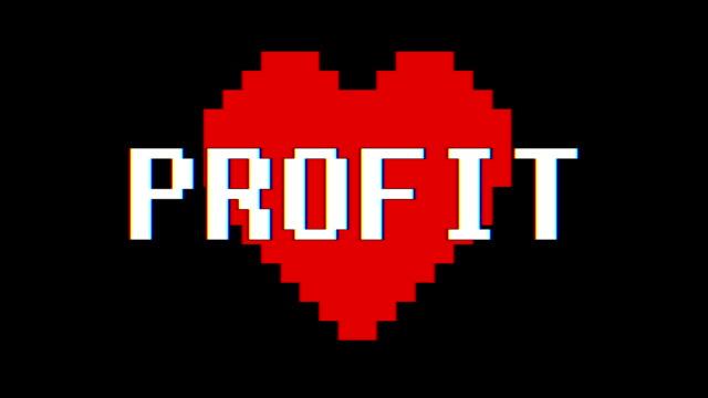 pixel cuore profitto parola testo glitch schermata interferenza senza soluzione di continuità loop animazione sfondo nuovo dinamico retrò vintage gioioso colorato filmati video - full hd format video stock e b–roll