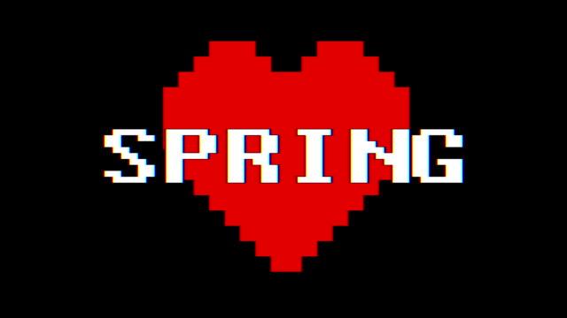 pixel cuore spring parola testo glitch interferenza schermo senza soluzione di continuità loop animazione sfondo nuovo dinamico retrò vintage gioioso colorato filmati video - full hd format video stock e b–roll