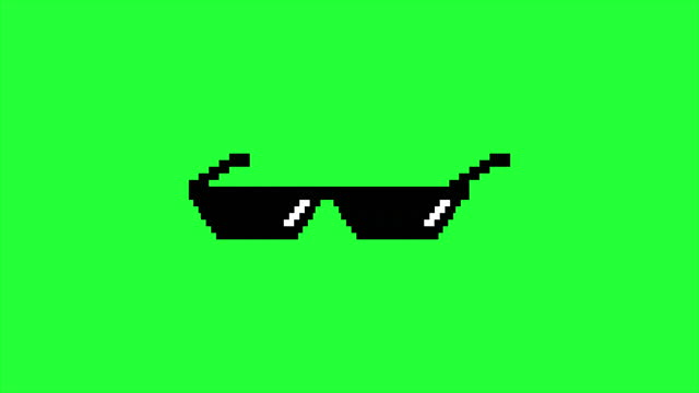 Pixel old glasses. Gangster effect with glasses video
