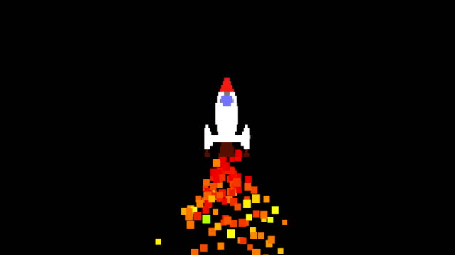 Pixel rocket launch footage. Cartoon spaceship takeoff animation isolated on black background. Space ship moving up with orange trail. Startup launch, success and goal achieving concept 4k video