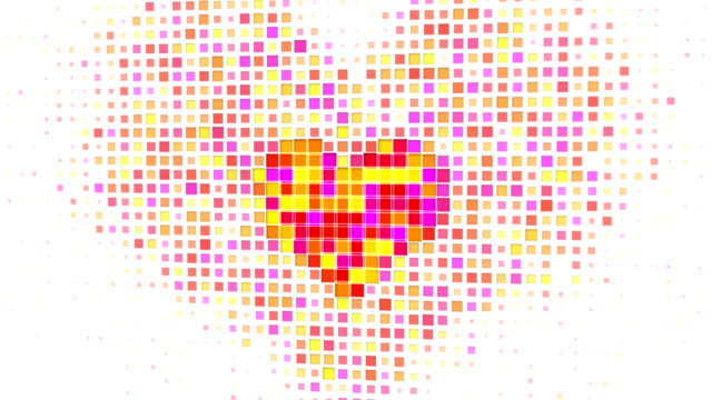 Pixelated colorful heart shape on white seamless loop video